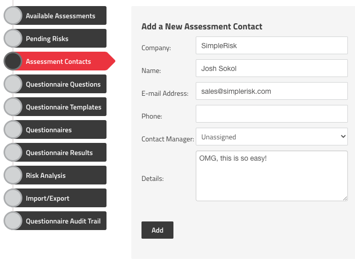 Add a New Assessment Contact