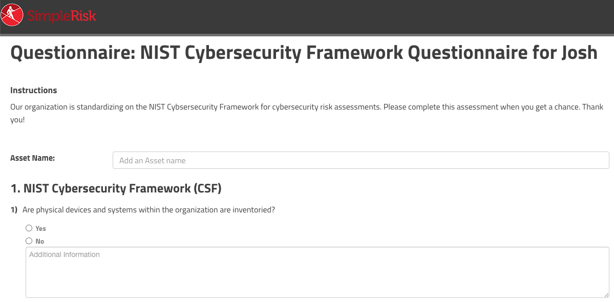 NIST Cybersecurity Framework Questionnaire