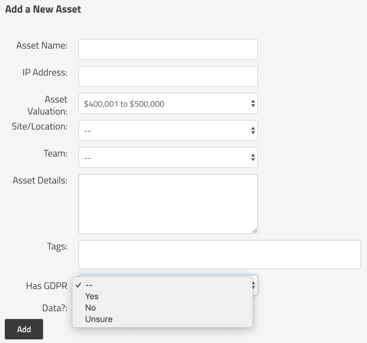 Custom Field Shown for an Asset in SimpleRisk
